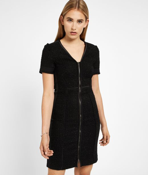 KARL LAGERFELD Black Sparkle Bouclé Dress 12_f