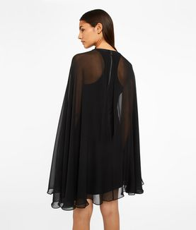 KARL LAGERFELD SILK DRESS WITH SHEER CAPE
