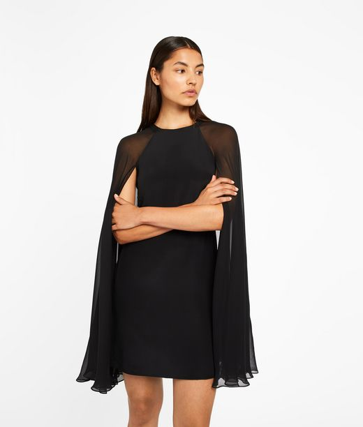 KARL LAGERFELD Silk Dress With Sheer Cape 12_f