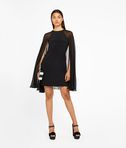 KARL LAGERFELD Silk Dress With Sheer Cape 8_d