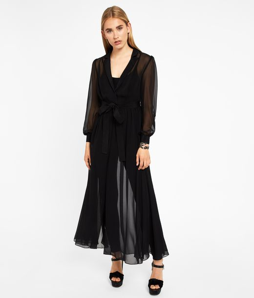 KARL LAGERFELD Ikonik Silk Maxi Trench Dress 12_f