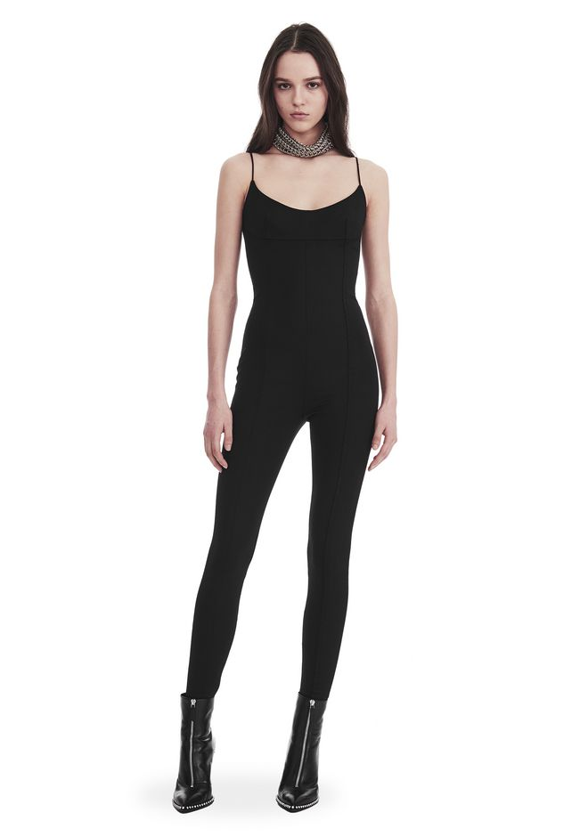 ALEXANDER WANG new-arrivals SCOOP NECK BODYSUIT WITH CONSTRUCTED BRA CUP