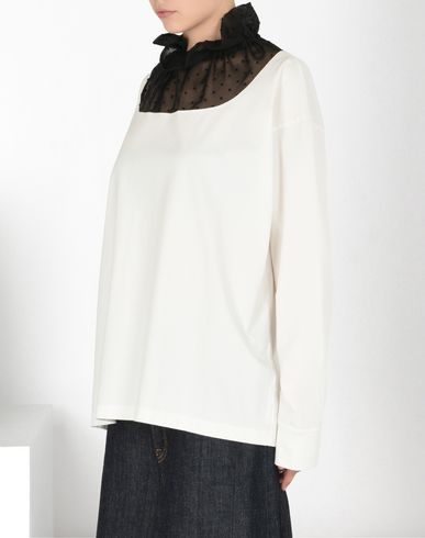 MM6 MAISON MARGIELA Long sleeve t-shirt D Jersey & chiffon long sleeve T-shirt f