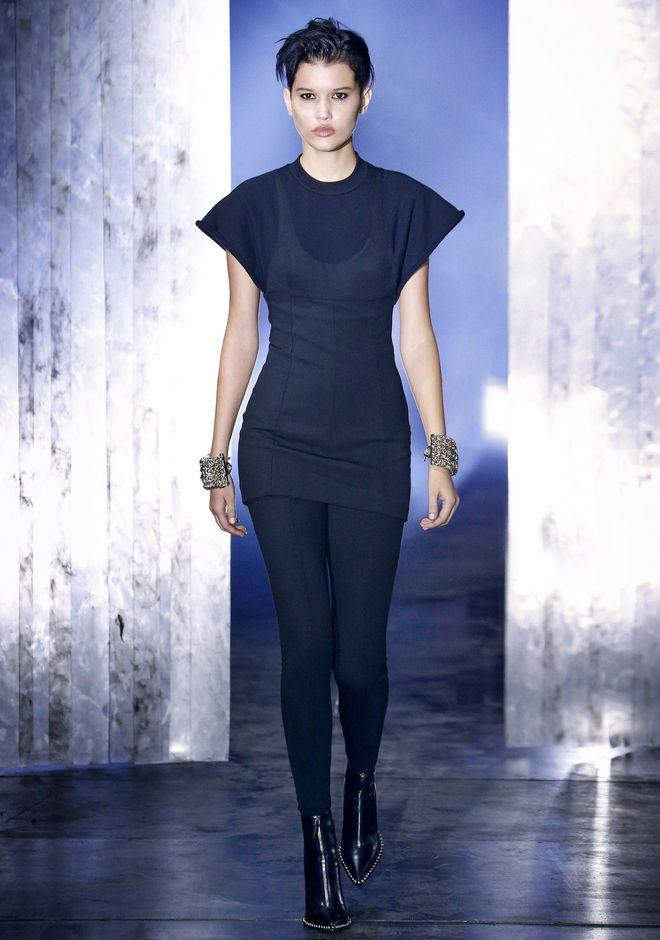 ALEXANDER WANG HYBRID SWEATSHIRT MINI DRESS 短款连衣裙 Adult 12_n_a