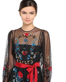 REDValentino Fraktur embroidered point d'esprit dress