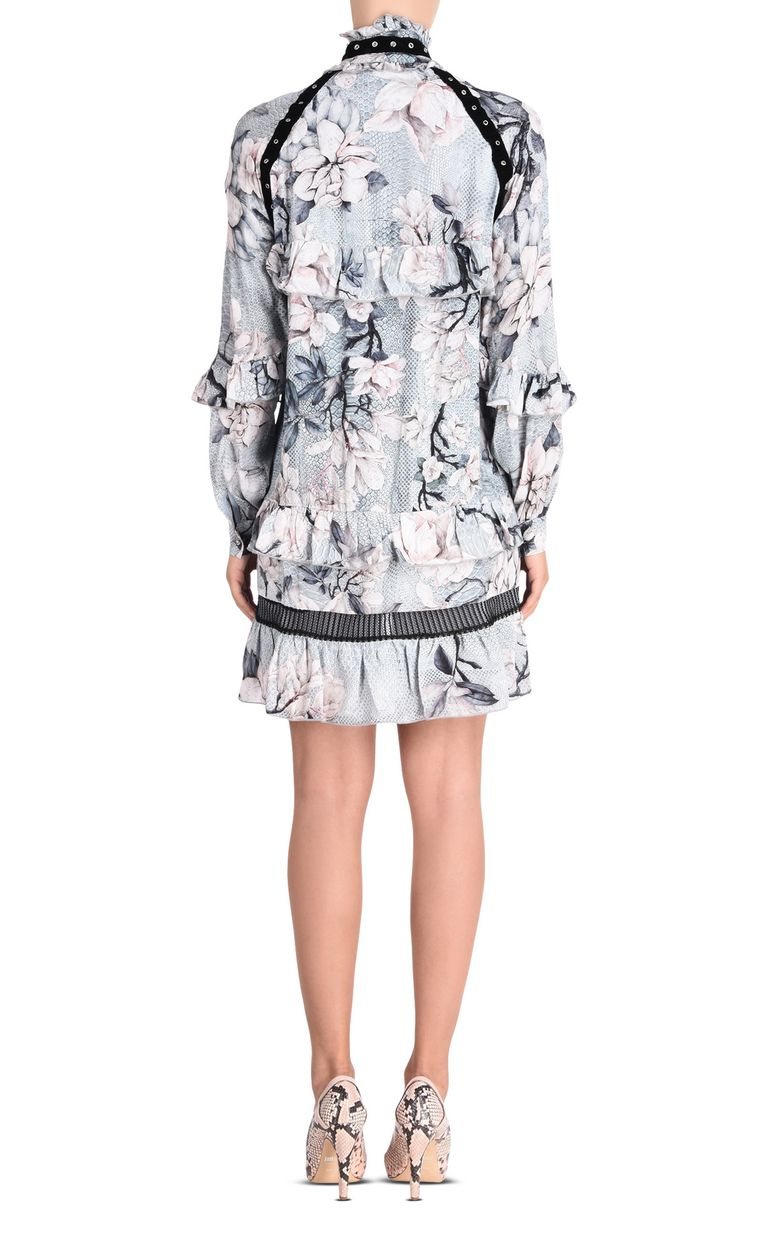 JUST CAVALLI Short dress with long sleeves in Magnolia print Short dress Woman d