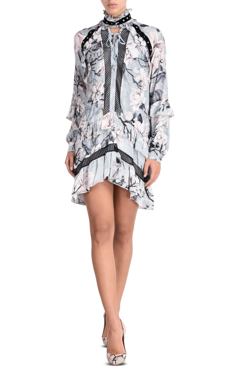 JUST CAVALLI Short dress with long sleeves in Magnolia print Short dress Woman f