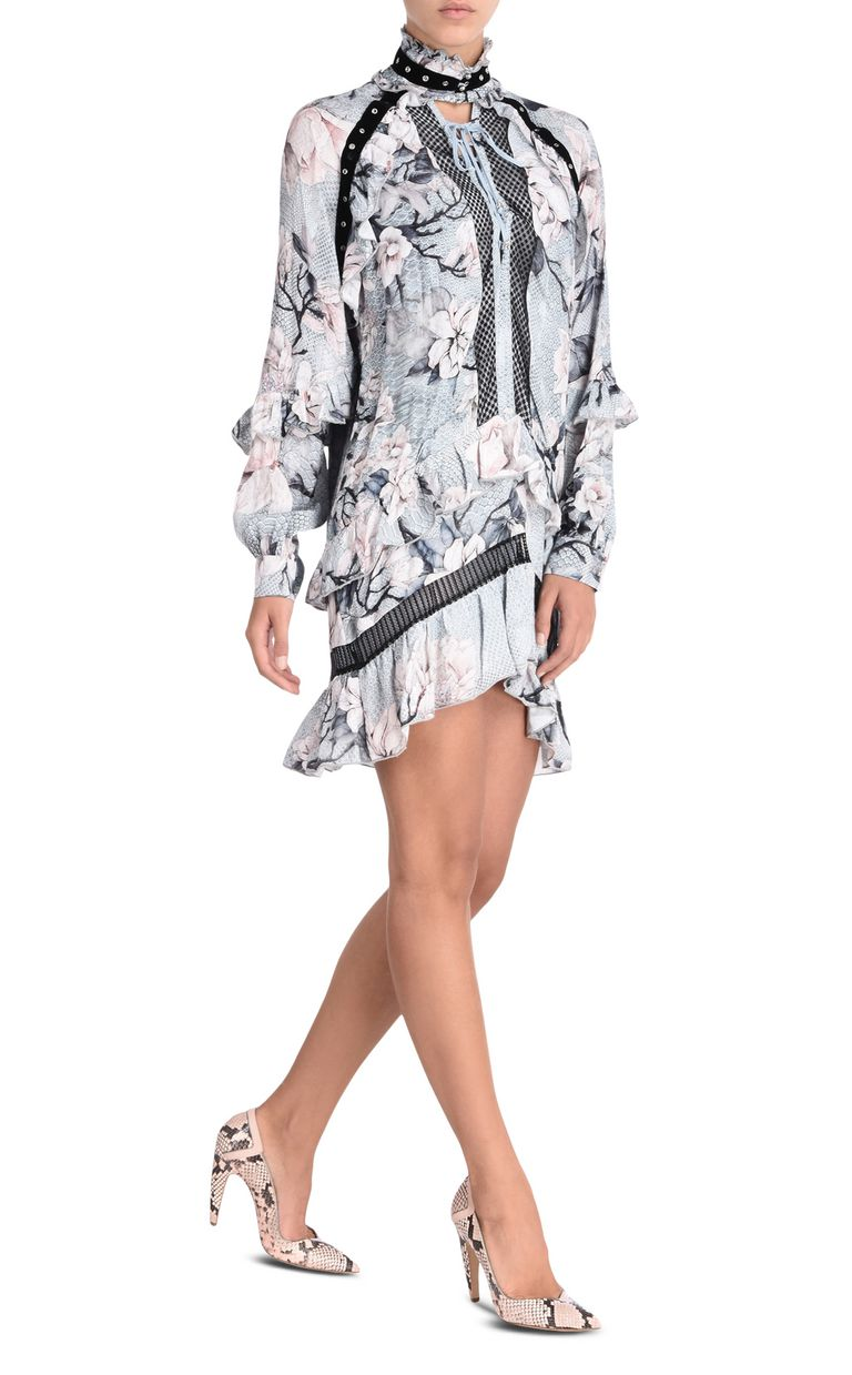 JUST CAVALLI Short dress with long sleeves in Magnolia print Short dress Woman r