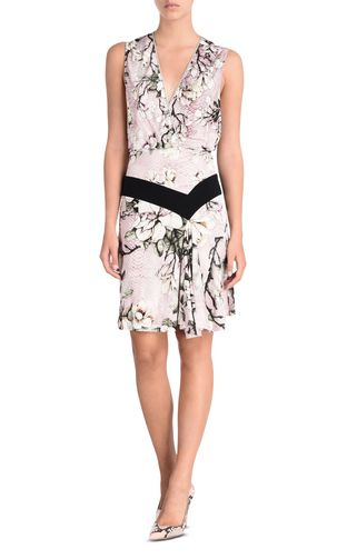 Short sleeveless dress in Magnolia print