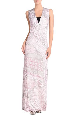 JUST CAVALLI Long dress Woman Long dress with Jacquard Crocco print f