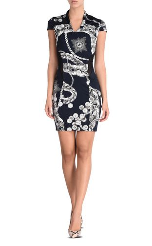 Short-sleeved dress in Chain Reaction print