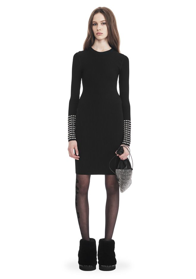 ALEXANDER WANG new-arrivals-ready-to-wear-woman LONG SLEEVE DRESS WITH CRYSTAL CUFF TRIM
