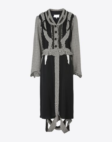 MAISON MARGIELA Décortiqué check wool dress 3/4 length dress D f