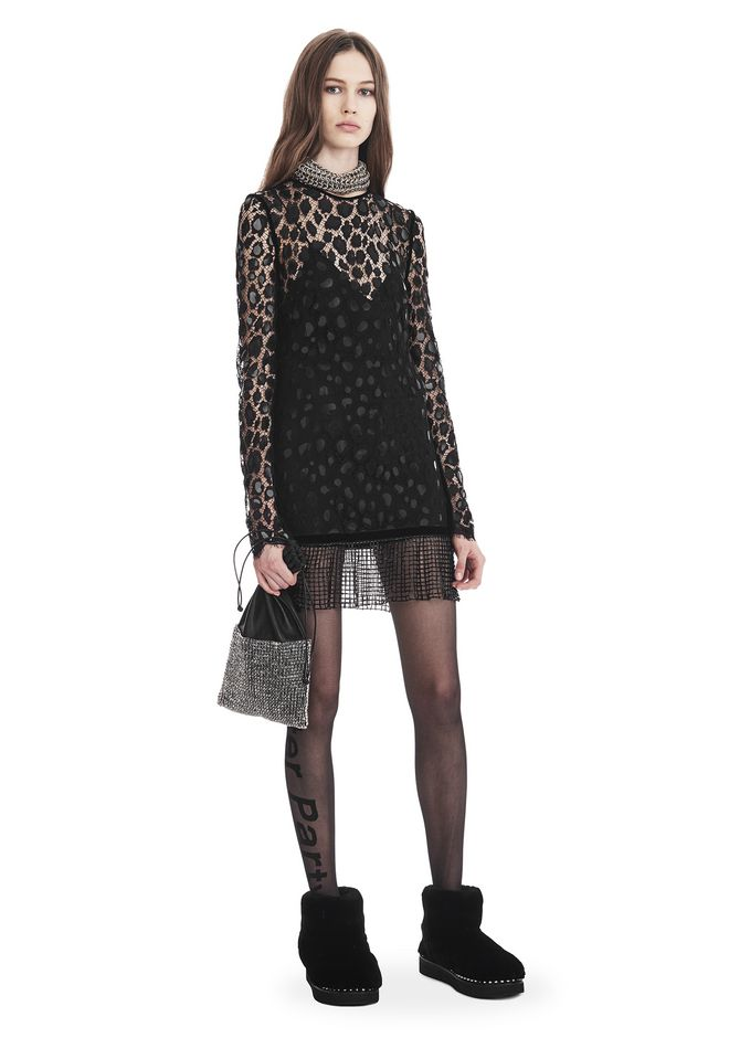 ALEXANDER WANG Short Dresses Women LEOPARD LACE LONG SLEEVE DRESS