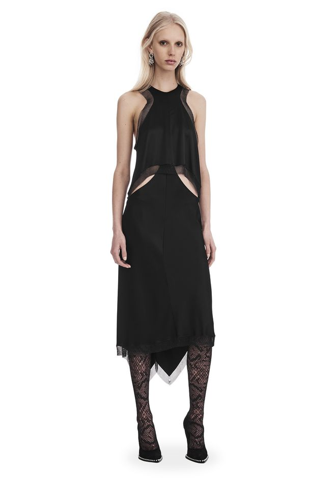 ALEXANDER WANG Long dresses Women SATIN SLIP DRESS WITH CHAINMAIL TRIM