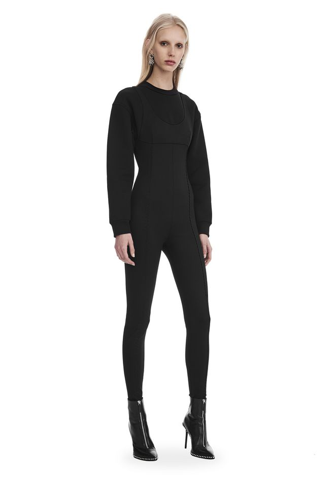 ALEXANDER WANG new-arrivals SCOOP NECK BODYSUIT WITH SWEATSHIRT UNDER LAYER