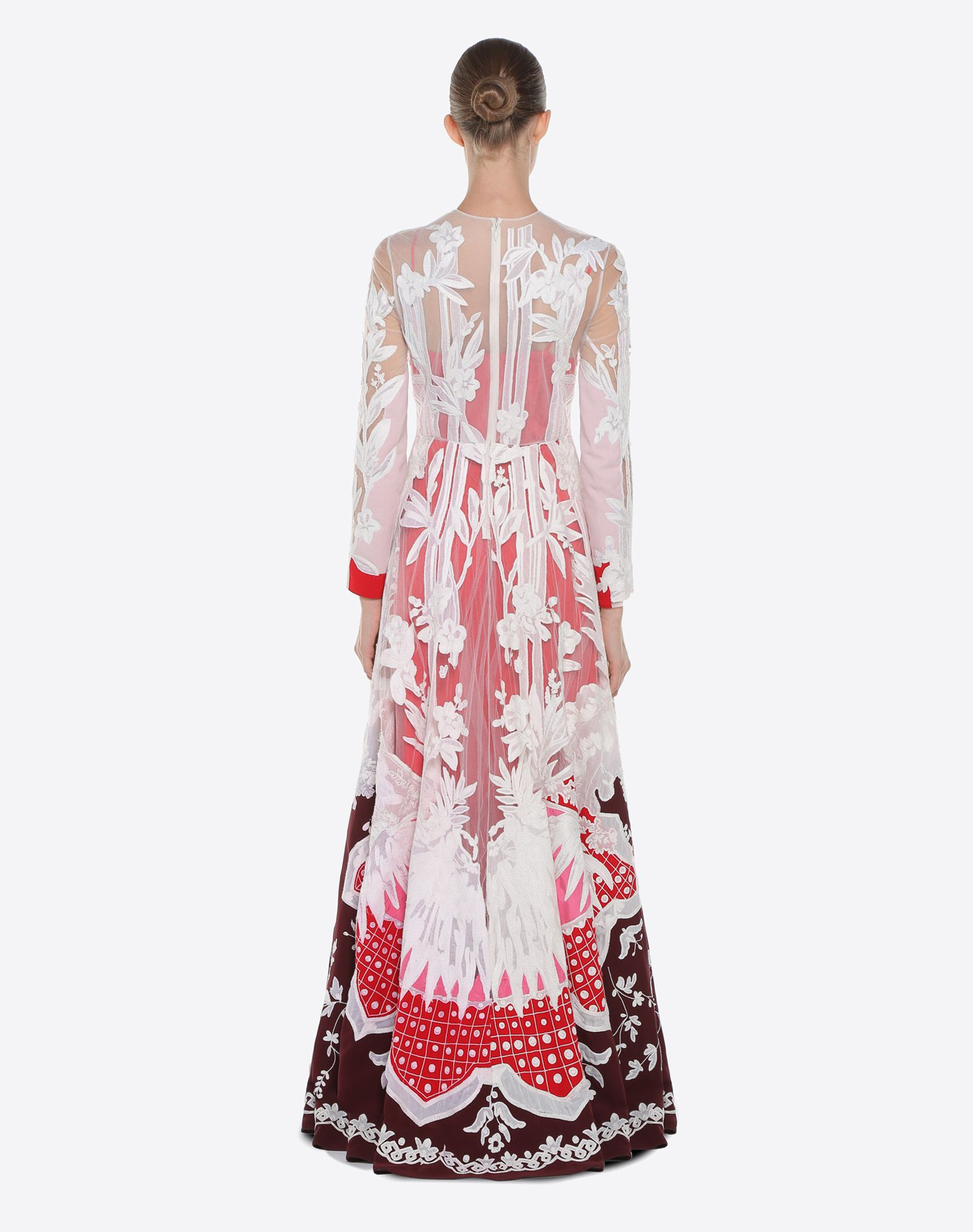 VALENTINO Embroidered crêpe de chine evening dress Gown D e