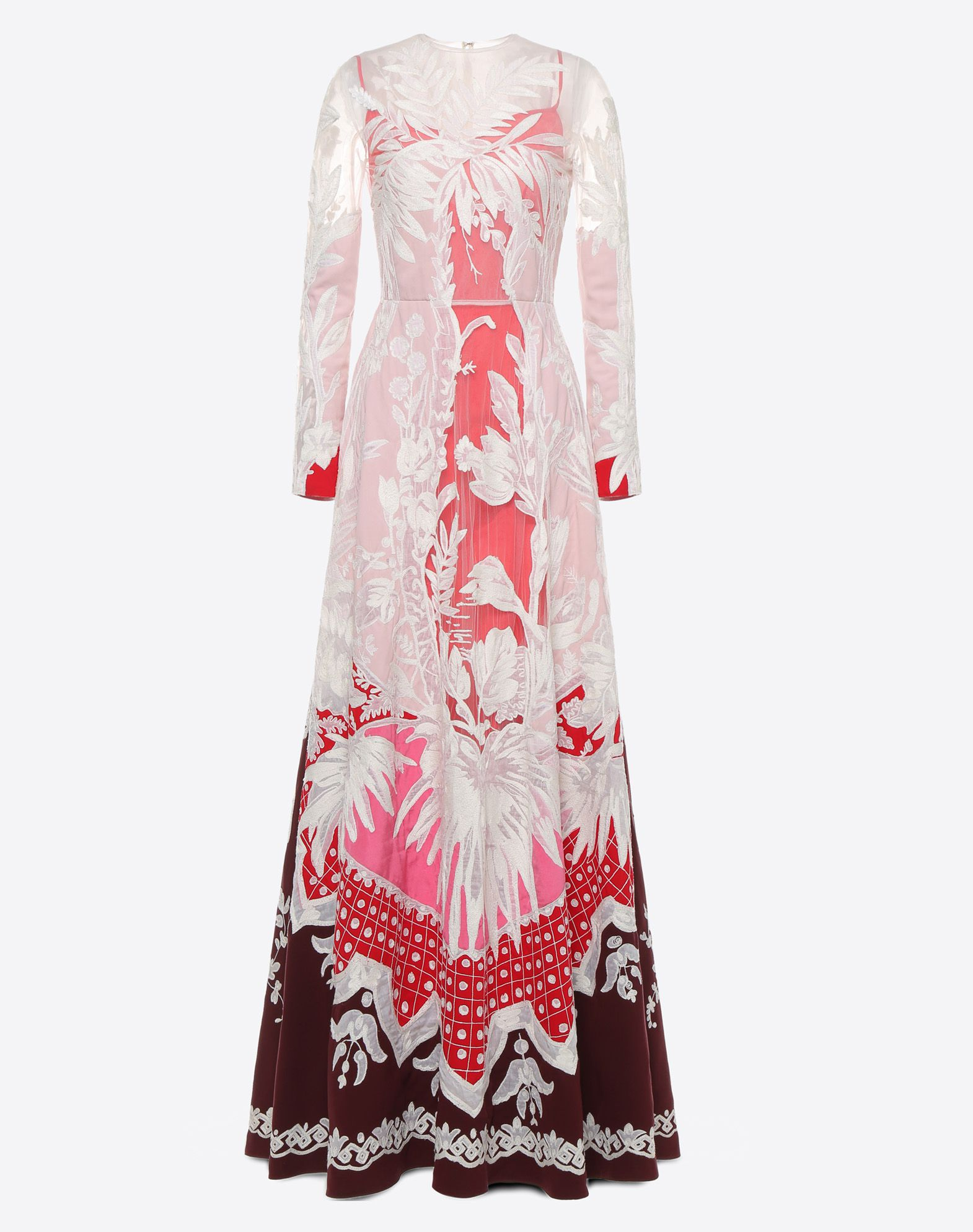 VALENTINO Embroidered crêpe de chine evening dress Gown D f