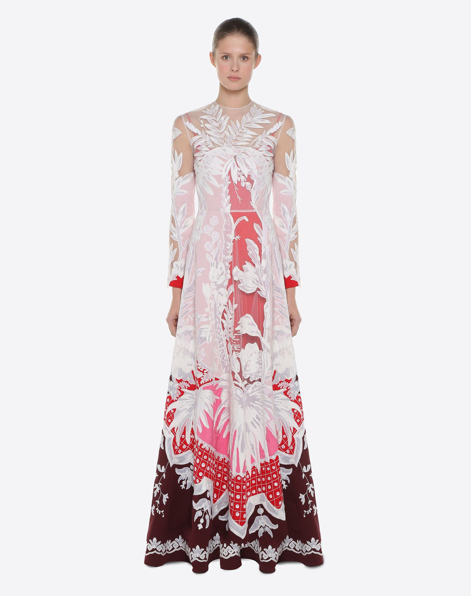 VALENTINO Embroidered crêpe de chine evening dress Gown D r
