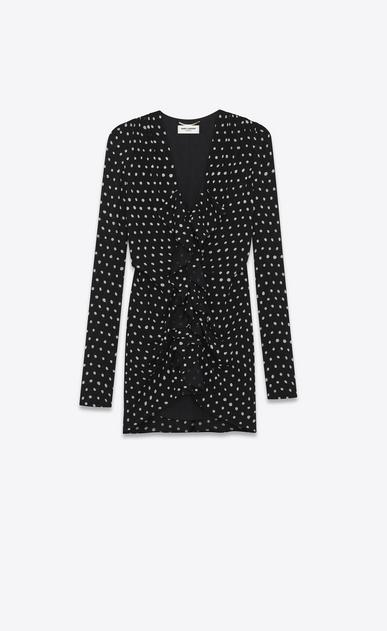 SAINT LAURENT Dresses Woman Ruffled mini dress in black crepe with white  polka dots a_V4