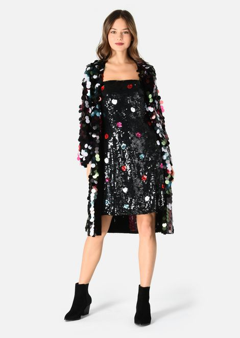 ORGANZA DRESS WITH POLKA DOT EMBROIDERY AND SEQUINS