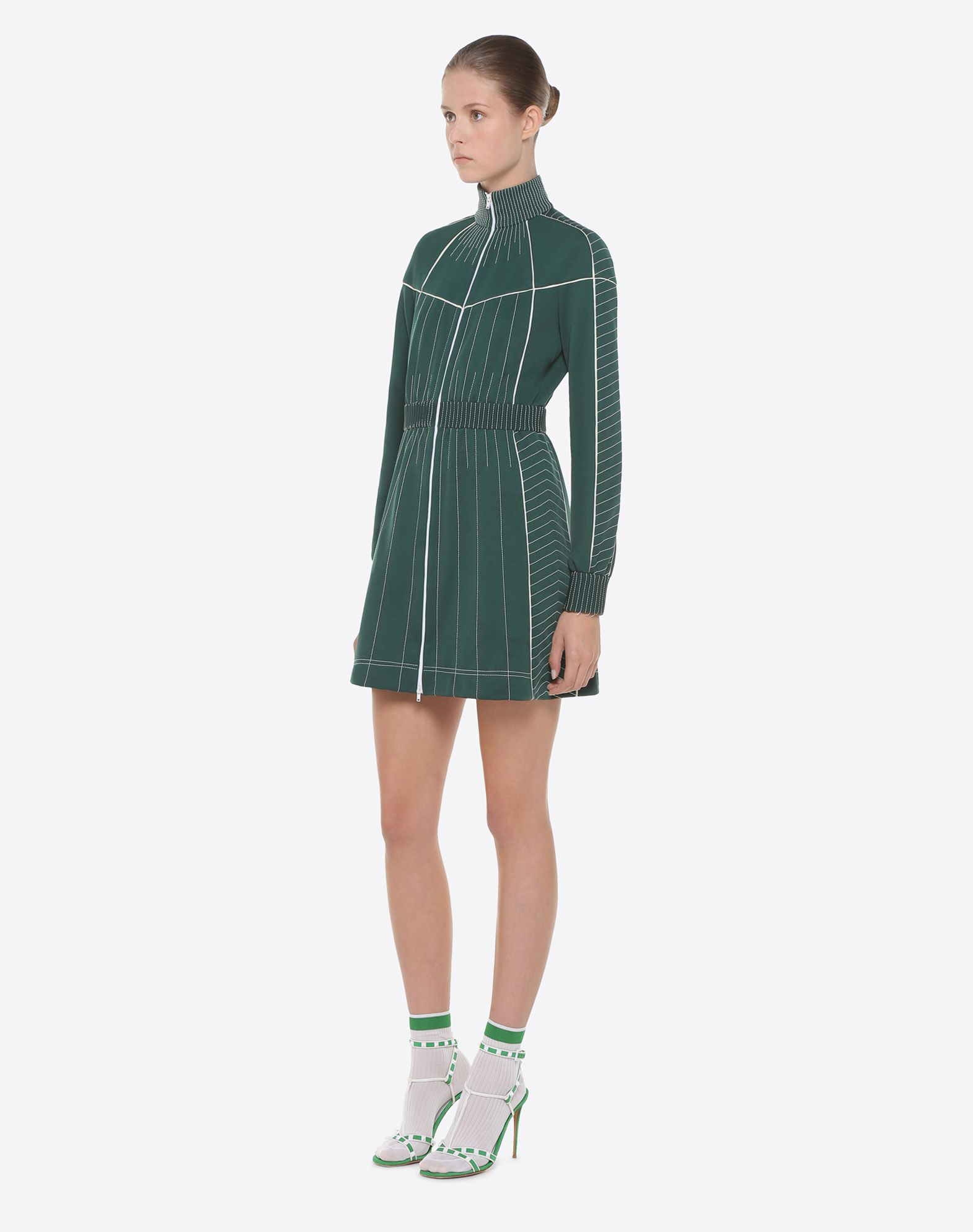 VALENTINO Turtleneck Elasticized cuffs Zip Semi-lined Long sleeves Synthetic jersey  34805647jt