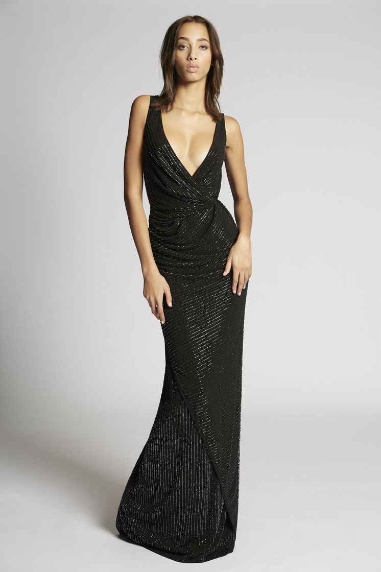 DSQUARED2 Crepe Beaded Draped Long Dress Dress Woman