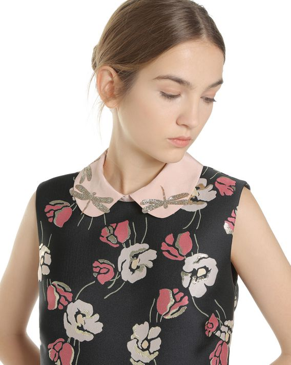 REDValentino Poppy Flower lurex Jacquard dress with glitter dragonflies collar