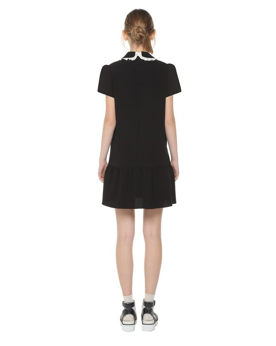Redvalentino Fluid Crepe Dress With Rounded Collar And Bow