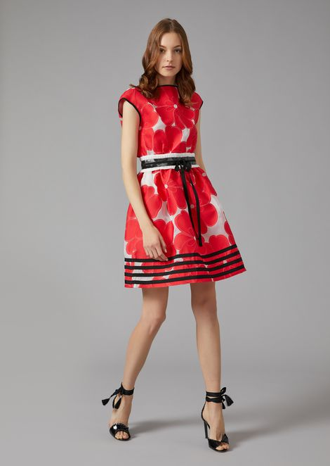 FLARED DRESS IN FLORAL JACQUARD FABRIC