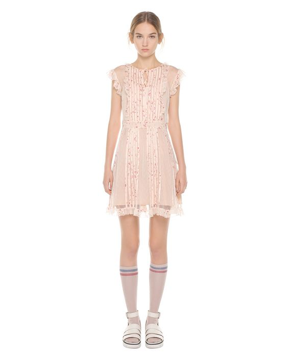 7b1cd5b4d37d ... REDValentino Point d esprit Tulle dress with tubulars embroidery ...