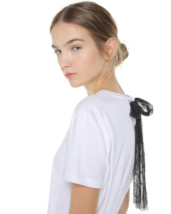 REDValentino Jersey T-shirt dress with point d'esprit  tulle
