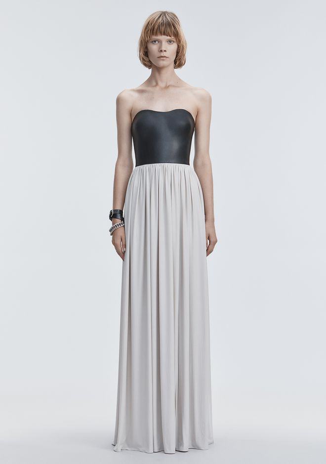 ALEXANDER WANG Long dresses Women MOLDED LEATHER BUSTIER GOWN