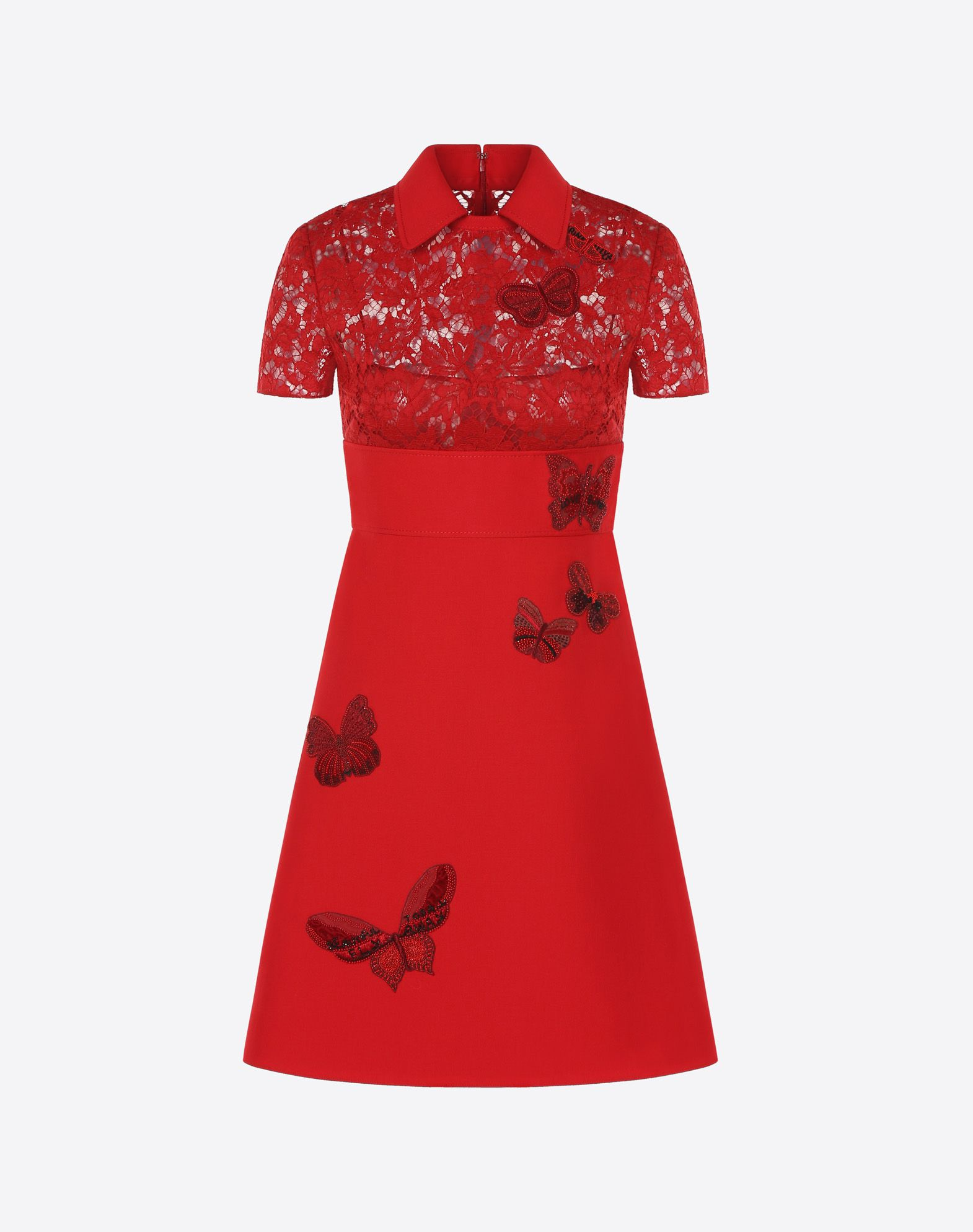 VALENTINO Solid colour Peter Pan collar Zip Crepe Lace Beaded Contrasting applications Fully lined  34820531sl
