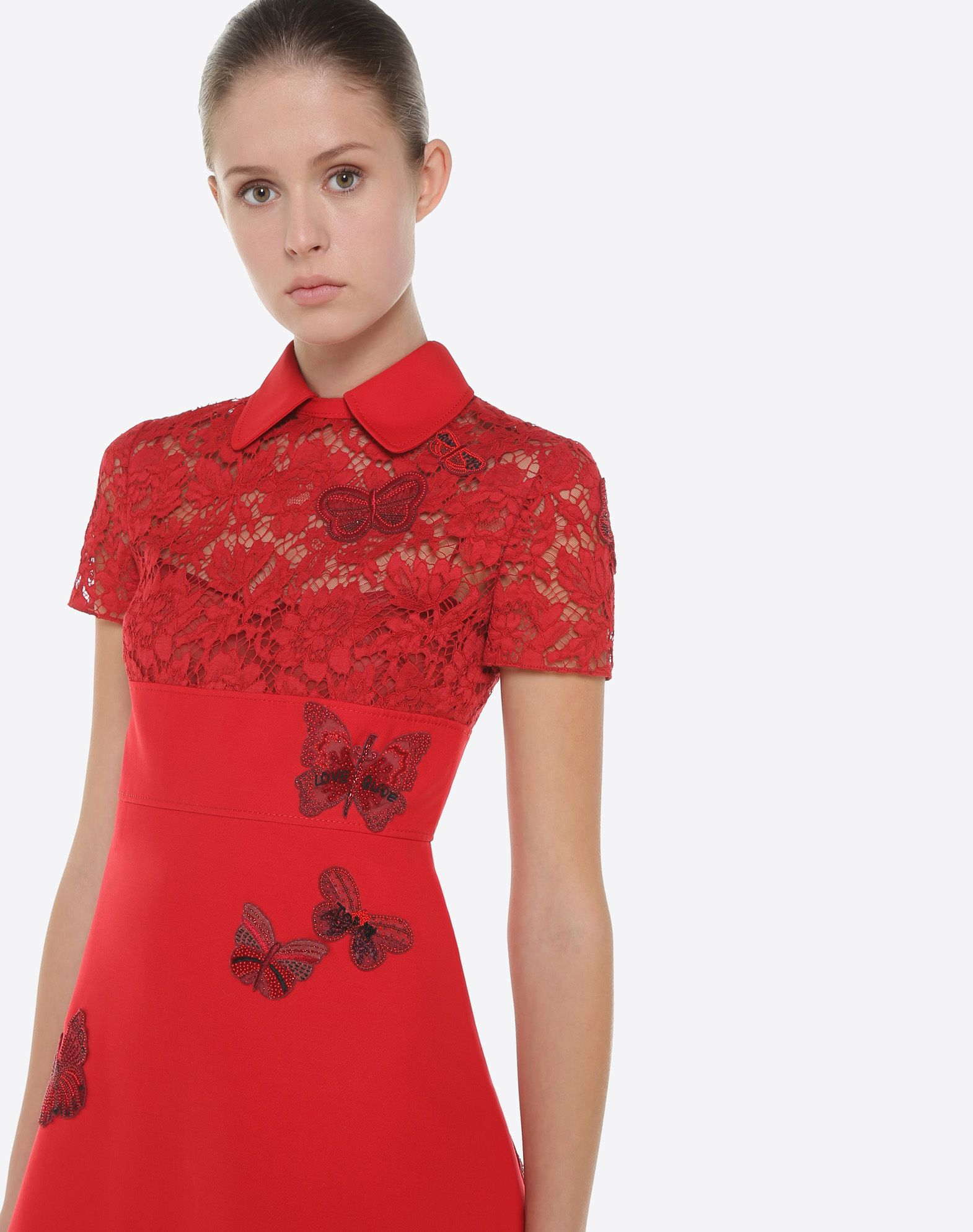 VALENTINO Dress with embroidered butterflies Embroidered dress D a