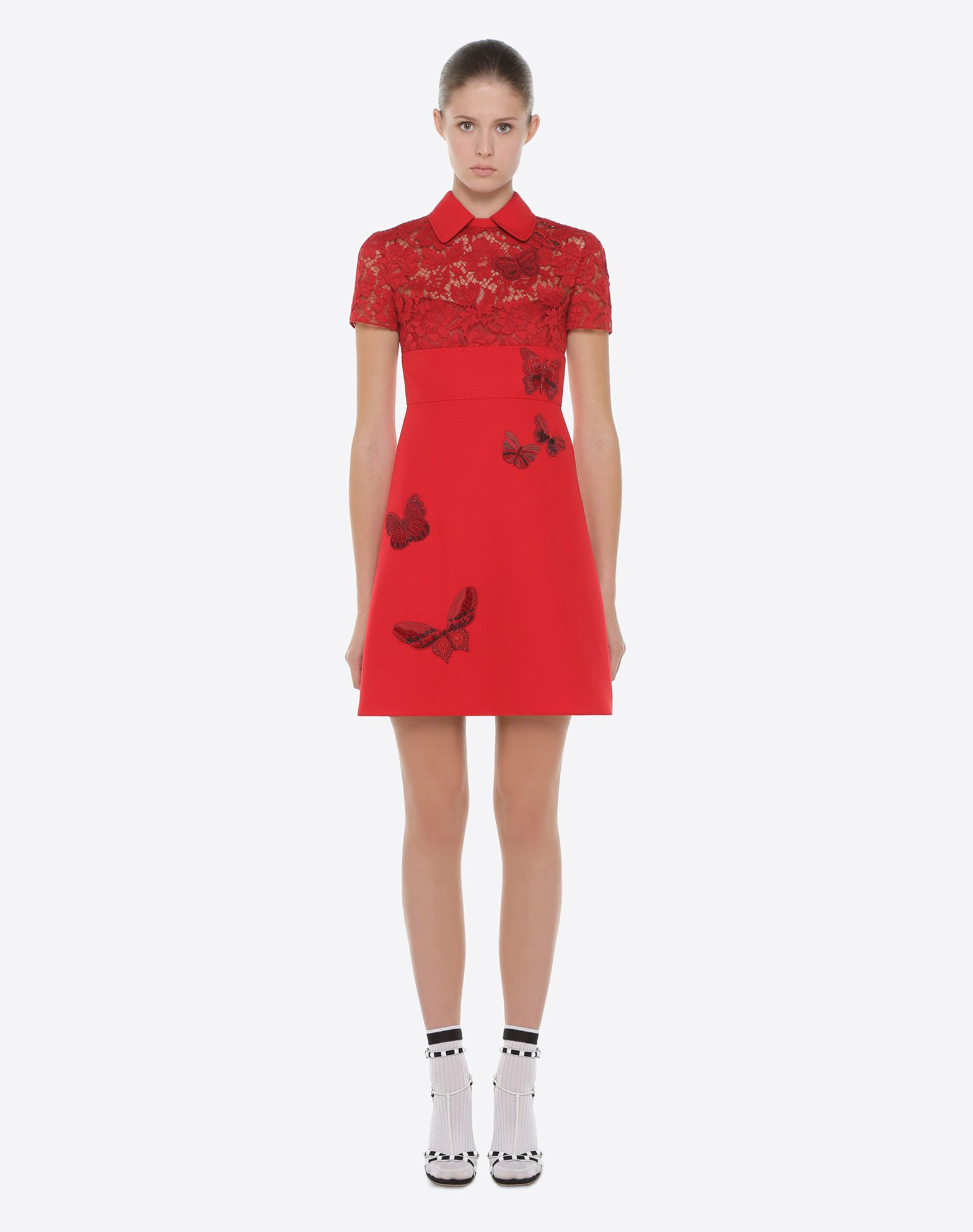 VALENTINO Dress with embroidered butterflies Embroidered dress D r