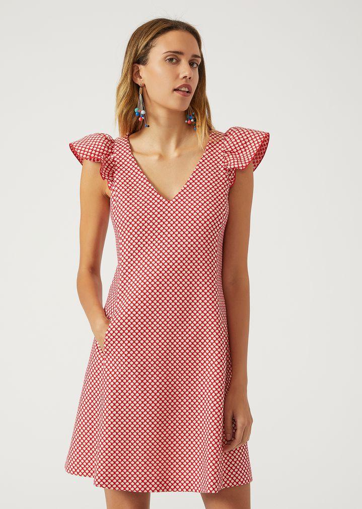 Vestido de línea A con círculos | Mujer | Emporio Armani