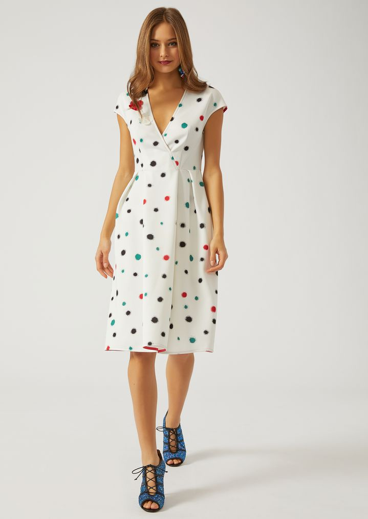 Mid Calf Length Dress In Scuba With Splashes Of Colour Woman