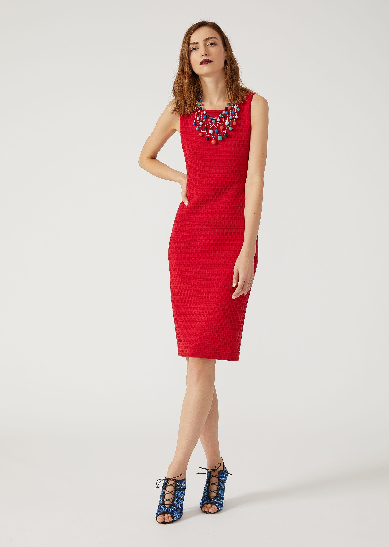 EMPORIO ARMANI Sheath in checked jacquard fabric Dress D f