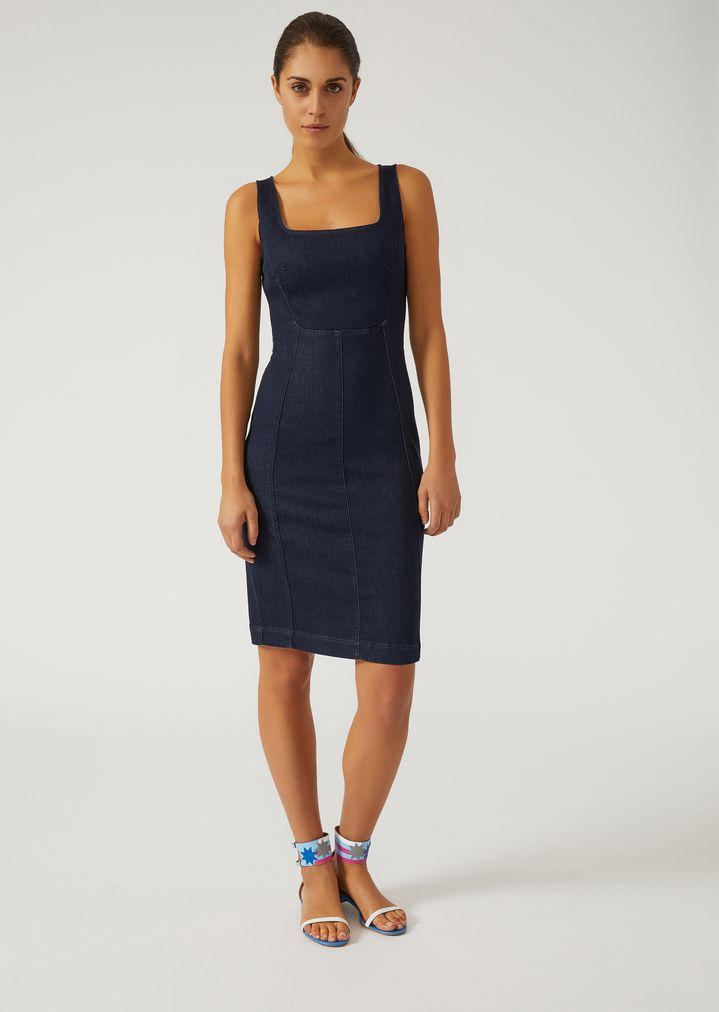 Ups Delivery Woman Sheath denim dress | W...