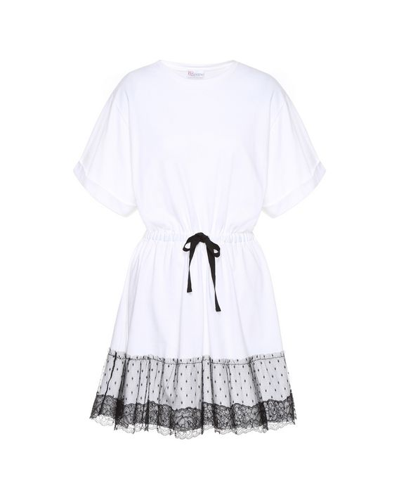 dca38a416eba REDValentino Jersey T Shirt Dress With Lace Ribbon - Jersey Dress ...