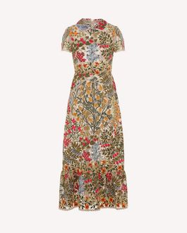 REDValentino Floral vine macramé embroidered dress