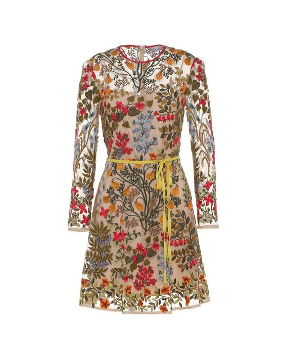 0a007721a7b REDValentino Floral Vines Tulle Embroidered Dress - Embroidered ...