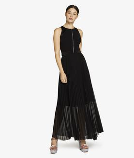 KARL LAGERFELD MAXI DRESS W/ PLEATED SKIRT