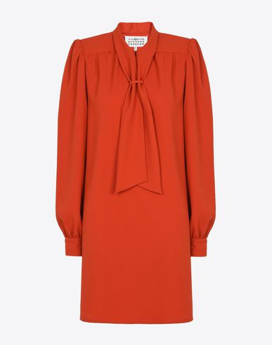 MAISON MARGIELA Short dress D Cady dress with a bow collar f