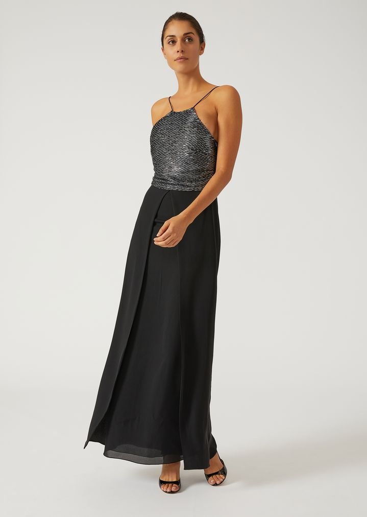 Dress with beaded bodice | Woman | Emporio Armani