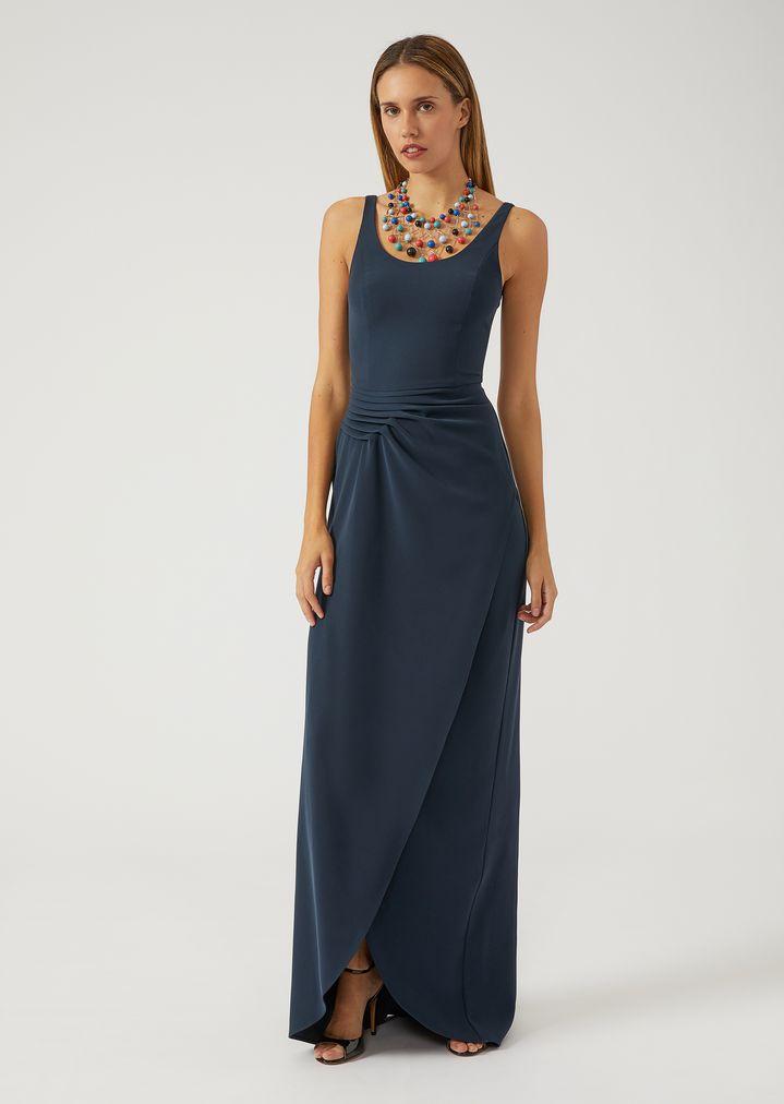 Langes Kleid mit mittigem Schlitz   Damen   Emporio Armani