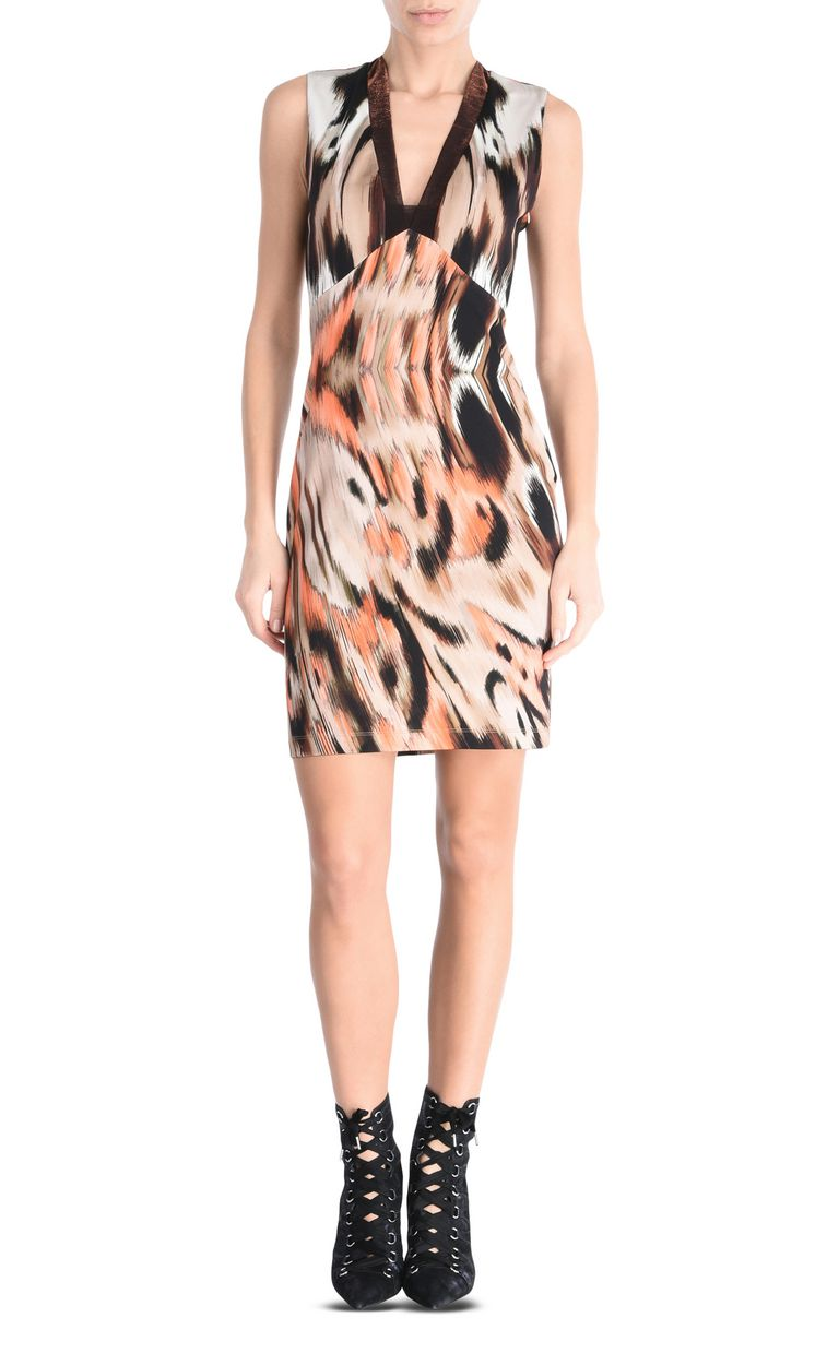 JUST CAVALLI Ikat Butterfly shift dress with wide straps Short dress Woman f