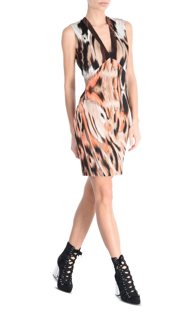 JUST CAVALLI Ikat Butterfly shift dress with wide straps Short dress Woman r