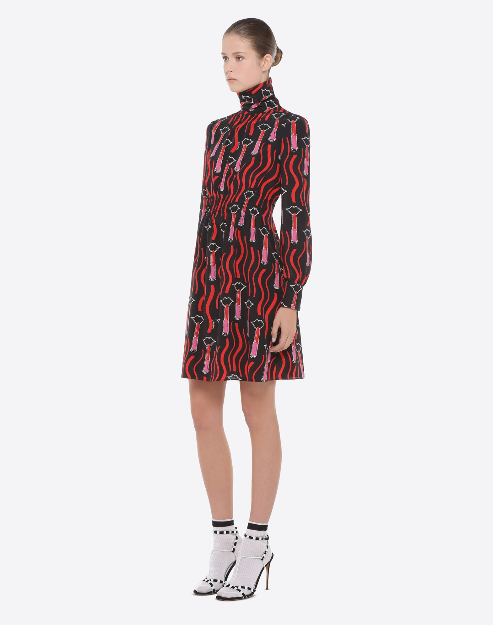 VALENTINO Lipstick Waves print dress Dress D d
